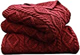 HiEnd Accents Cable Knit Soft Wool Throw Blanket - 50X60 Red