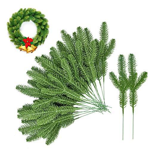 LYTIVAGEN 30 Stück Kiefernzweigen Weihnachten Künstliche Tannenzweige Grüne Dekozweige 23cm Kiefernnadel Girlande Weihnachtszweige Gefälschte Weihnachten Pflanz für Weihnachten Dekoration