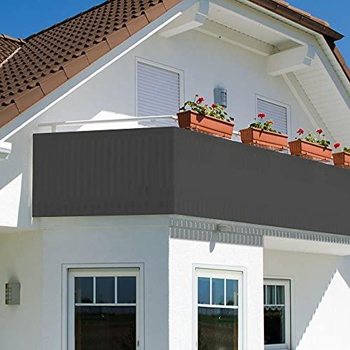 Oramics Sichtschutz Sichtblende für Balkon Geländer Zaun ca. 90x500 cm - Balkonverkleidung Blickdicht atmungsaktiv – Balkonumspannung PVC UV-Schutz HDPE Geflecht 24 Alu Ösen (Anthrazit)
