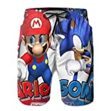 ASINL Mario and Sonic Men's Swimming Trunks with Pockets Beach...