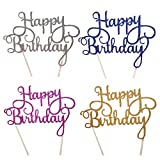 Happy Birthday Cake Topper,Pack of 4 Gold Glitter Birthday Cupcake Topper for Party Decoration