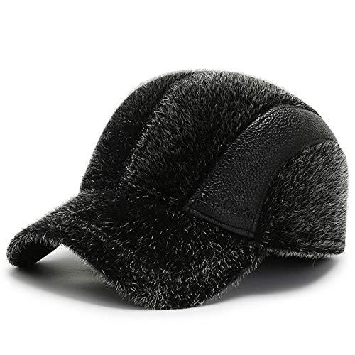 XMSIA Sombrero Plano para Hombre Gorra de bisbol de Invierno for Hombre con Solapas de Orejas OUTFLAP Sombrero DE CAGADOR Caps de Boina de Peridicos (Color : Black, Size : Medium)