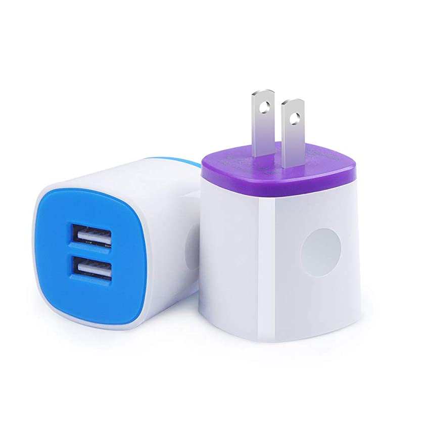 Charger Brick, Charging Block Fast Charge, 2Pack AndHot Dual Port USB Wall Charger Power Adapter Compatible for iPhone Xs Max/XR/X/8/7/6 Plus iPad Samsung Kindle, Android Phone Charger Plug Cube Box