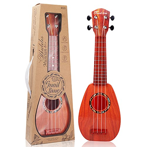 17 Inch Kids Ukulele Guitar Toy 4 Strings Mini Children Musical Instruments Educational Learning Toy for Toddler Beginner Keep Tone Anti-Impact Can Play With Picks/Strap/Primary Tutorial (ROSE)