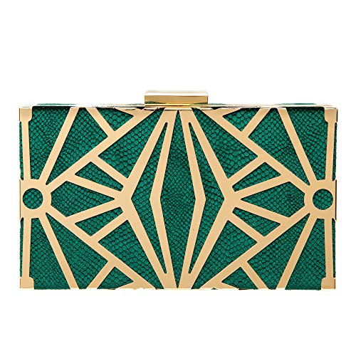 CARIEDO Women Evening Bag Elegant Clutch Purse Exquisite Velvet Metal Hollow out Handbags Prom Wedding Party (Green)