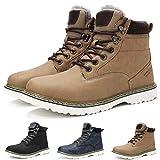 Camfosy Botas de Lluvia Impermeables para Hombres, Botas de Nieve Botines Après Ski Zapatos de Piel de Invierno