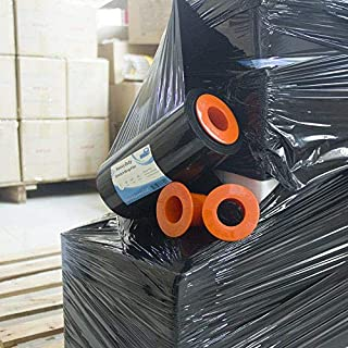 "Black Plastic Stretch Wrap Film 9""×1000ft 80 Gauge Storage Industrial with Hand Saver Dispenser Mini Packing Shrink Wrap Film for Moving Shipping Protecting Packages to Be More Stable and Tidy"