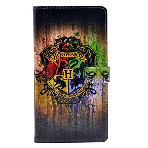 YHB Magic School Badge Watercolor Art Pattern Leather Wallet Card Flip Stand Case Cover for Apple iPhone 6 Plus,iPhone 6S Plus New (5.5inch)
