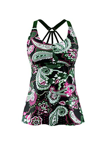 EVALESS Women's Floral Printed Padded Wide Strap Tankini Swim Top Swimsuit Swimwear No Bottom Large Green