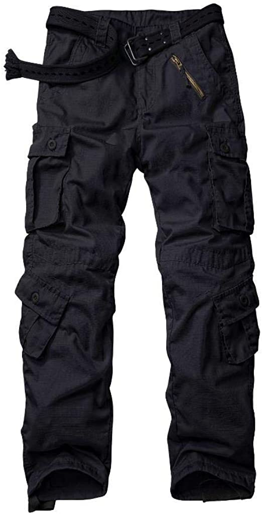 Mens Combat Cargo Work Trousers Heavy Duty Outdoor Work Wear Multipockets Pants