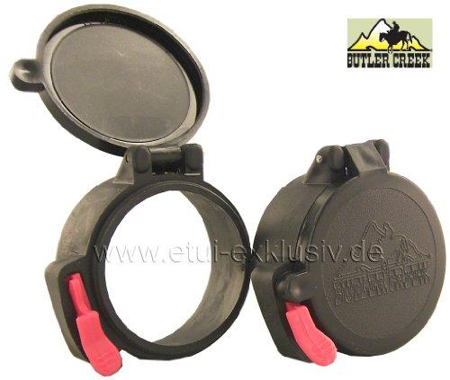 Okularschutzkappen Zielfernrohr Schutzkappe Butler Creek, Flip Open, EYE11, 39,4 mm, für Leupold, Swarowski Z3mm,