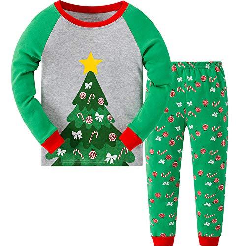 MIXIDON Pijamas de Navidad para Niños Pequeños y Niñas,Arbol de Navidad 1,4 Años