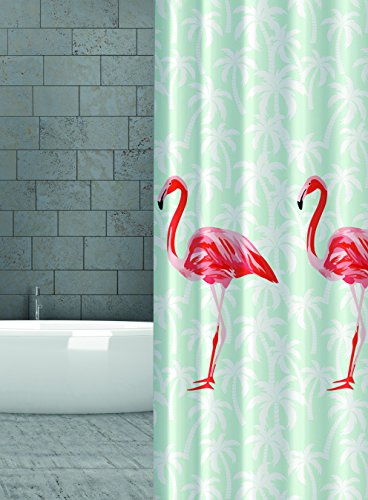 KS Handel 24 Textil DUSCHVORHANG Flamingo Orange Rot Lachs Mint Gruen 240x180 cm 240 Breit X 180 cm Hoch! Shower Curtain INKL. DUSCHRINGE