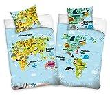 Familando Weltkarte Kontinente Bettwäsche-Set 135x200 cm + Kissen 80x80 cm Landkarte Kinder-Bettwäsche Jungen 100% Baumwolle, Linon