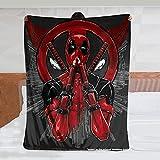 Superhero Mutant Deadpool Throw Blanket, Soft Cosy Reversible Fleece Anime Blanket for Adults, Blanket Throw Sherpa for Couch Sofa Boys Children Kids 80x60 Inch