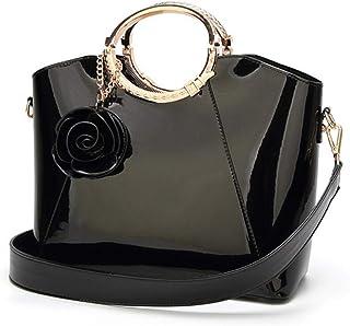 New High Quality Patent Leather Women bag Ladies Cross Body messenger Shoulder Bags Handbags,Black,S