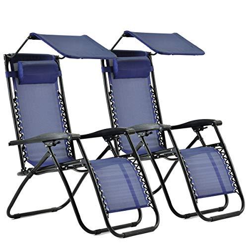 Apicallife 2 Pieces Adjustable Zero Gravity Lounge Chair Recliners for Patio, Garden
