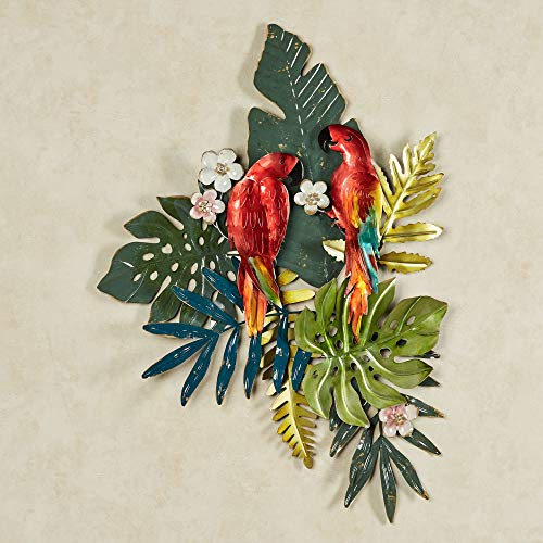 Island Parrots Tropical Metal Hand Finished Wall Art Red, Green, White and Blue 28″Wx39″H