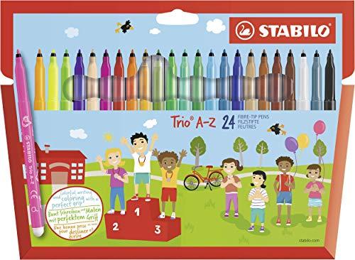Pennarello a punta fine e fusto triangolare - STABILO Trio A-Z - Astuccio da 24 - Colori assortiti