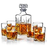 James Scott Italian Made 7-Piece Decanter Set - Whiskey Glass Lead Free Sophisticated...