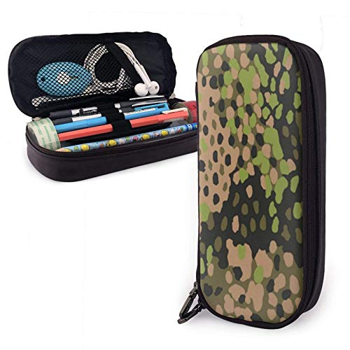 Astuccio in pelle Ww2 Ss Erbsentarn Camo Pu Leather Pencil Case with Zipper Closure Big Capacity Carrying Case for School Office
