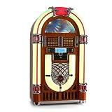 Autentico jukebox in stile anni 50 con giradischi Illuminazione a LED con colori statici o 7 colori variabili Interfaccia USB e SD - per la riproduzione di musica da unità flash USB, lettori MP3 e schede di memoria SD Interfaccia USB e SD - per la ri...