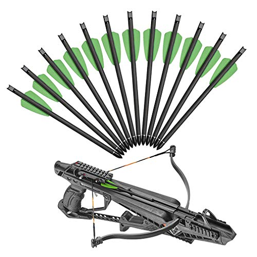 XIXILI 7.5 inch Carbon Crossbow Bolts Hunting Carbon Arrows with 2 inch Vanes and 100 Grain Removable Tips for Outdoor Hunting Bow Shooting Practice (Green/12pcs)