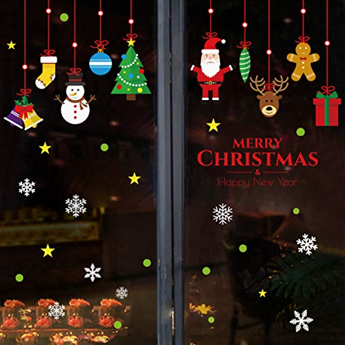 Pegatinas de Navidad Adornos Navideños Decoración Ventanas Escaparates Invierno Calcomanía Copos de Nieve