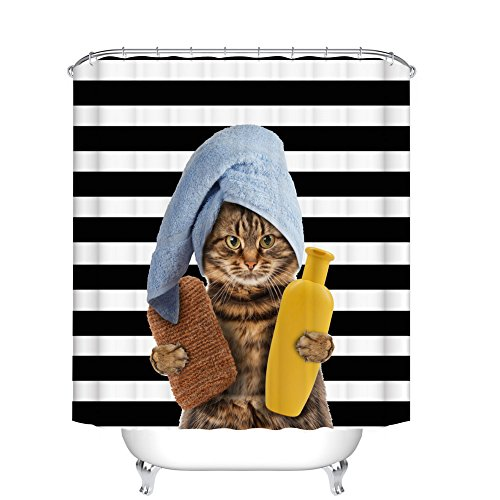 Fangkun Animals Funny Cat Bathing Decor Bathroom Shower Curtain - Head Wrapped in Bath Towels cat Stripe Background - Polyester Fabric Bath Curtains Set - 12pcs Shower Hooks