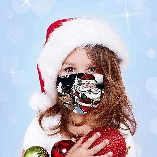 duquanxinquan 50PCS Children Kinder Multifunktionstuch Bandana Mundschutz Kinder Weihnachten Bedruckte Face Bandana Halstuch Atmungsaktiv,Outdoor 3-lagiger Einweghülle für Jungen und Mädchen