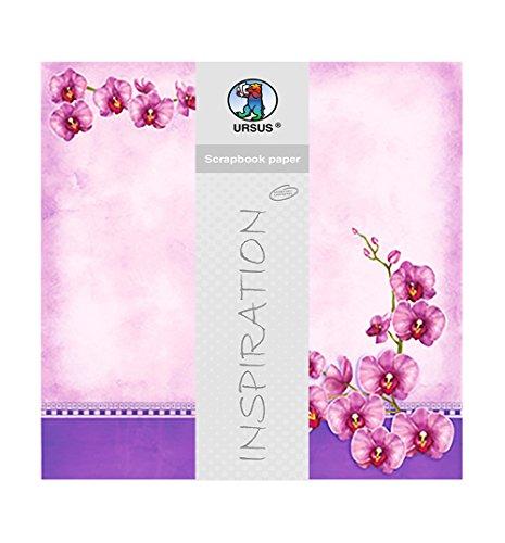 Ursus 703000249 - Premium Glitter Scrapbook paper Orchideen, ca. 30,5 x 30,5 cm, 5 Blatt, Motiv 249