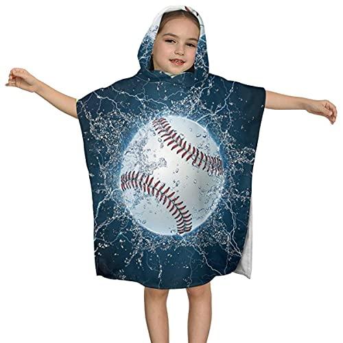Serviette à Capuche pour Enfants, Serviette de Bain à Capuche Balle de Baseball pour Piscine et Plage, Convient aux garçons et Filles de 2 à 7 Ans