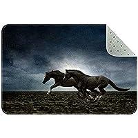 エリアラグ軽量 走っている黒い馬(3) フロアマットソフトカーペットチホームリビングダイニングルームベッドルーム