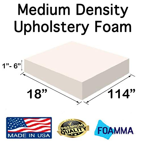 Best Deals! FOAMMA  3 x 18 x 114 Medium Density Upholstery Foam (Chair Cushion Square Foam for D...