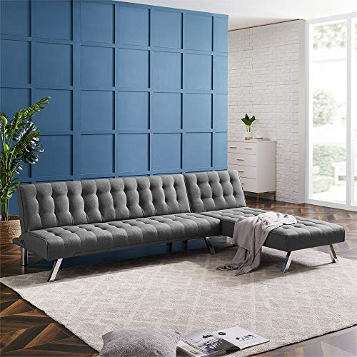 YANGAC L Shaped Couch for Living Room, Reversible Sectional Sofa Couch Bed Chaise Lounge with Chrome Metal Legs for Living Space, Apartment, Dorm, US Stock,Grey