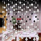 💖 Celiy 💖 Decorative Door String Curtain Beads Wall Panel Fringe Window Divider Blind for Wedding Coffee House Restaurant Parts Crystal Tassel Screen Home Decoration (C)