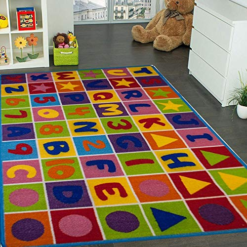 "Kids Rug Numbers and Letters Area Rug 5' x 7' Children Area Rug for Playroom & Nursery - Non Skid Gel Backing (59"" x 82"")"