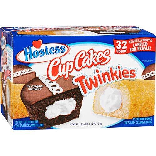 Hostess(ホステス), Twinkies - ホステストゥインキーズ & Cup Cakes - カップケーキ ファミリーサイズ(大) 32 個海外直送