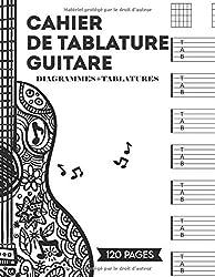 Cahier de tablature guitare: Cahier de musique guitare   120 tablatures vierges grand format A4 + diagrammes   outil apprentissage guitare enfant adulte et débutant