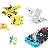 Soporte para Nintendo Switch,Compatible con hasta 16 Juegos de Switch Organizador de Tarjeta de Juego Contenedor de Viaje,Protector de Pantalla,Grip Set Joystick Cap Analog Stick Cap(blanco5in1)