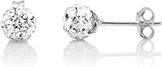 925 Sterling Silver Sparkling Shamballa Inspired Crystal Disco Ball 7 mm Post Stud Earrings