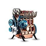 AMITAS Moteur de Voiture à Quatre Cylindres Maquette Véhicule Miniature Engine Moteur en Métal 15,4×12,2×18,6cm