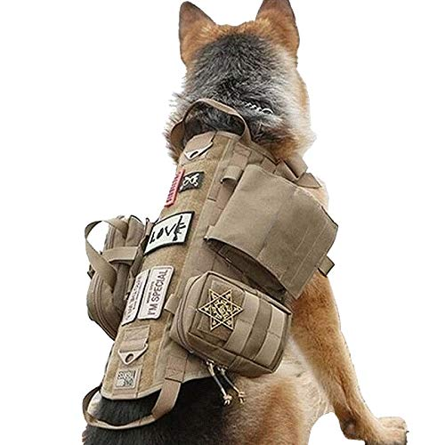 Tactical Dog Harness with Pouches Molle Vest K9 No-Pull Handle Comfortable Adjustable Outdoor Training Service Camouflage Harness with 3 Detachable Pouches (L,Khaki)