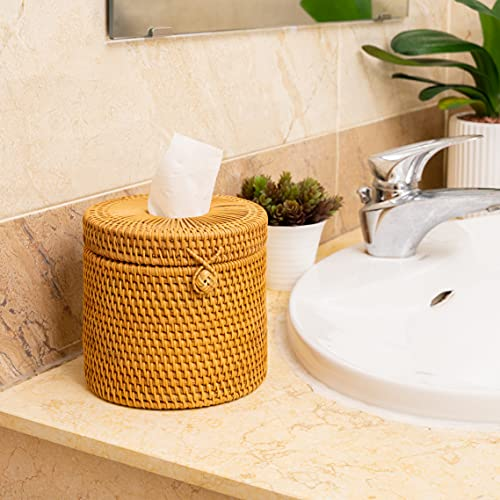 Rattan Tissue Box Toilet Paper Cover Wicker Decorative Holders with Lid 5.9 Dia X 5.5 H in for Storage Single Roll and Tissues Protector in Bathroom, Round Toilet Holder Basket (Honey Brown)