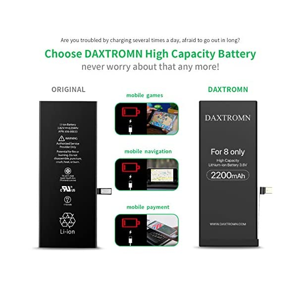Daxtromn Replacement Battery For Iphone 8 2200mah High Capacity Li Ion Battery 0 Cycle With Complete Repair Tool Kits And Adhesive Strips 2 Years Warr