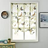 Tie-Up Roman Shades Rod Pocket Organza Balloon Curtain Butterfly Floral Semi Sheer Window Balloon Curtain for Living Room Kitchen Windows (47' W x 55' L)