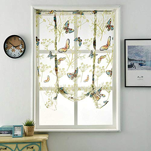 """Tie-Up Roman Shades Rod Pocket Organza Balloon Curtain Butterfly Floral Semi Sheer Window Balloon Curtain for Living Room Kitchen Windows (55"""" W x 55"""" L)"""