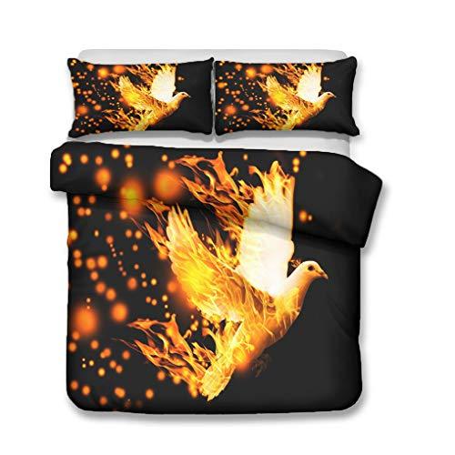Bettwäsche Set Schwarz Flamme Yin Yang Blau Gelb 3D Tier Phönix Taube Geist Vogel Bettbezug Mit Reißverschluss, Sanft Atmungsaktiv Polyester (Taube,Bettbezug 135x200 cm + 1 Kissenbezug 80x80 cm)