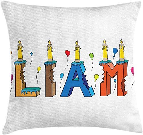 Liam - Funda de cojín con diseño de letras y velas (18 x 45,7 cm), multicolor