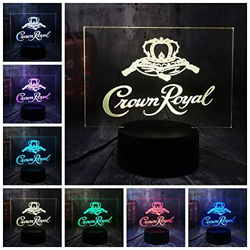 New Crown Royal Logo Whisky 3D LED tafellamp nachtlampje kantoor decoratie cadeau kerst Nieuwjaar